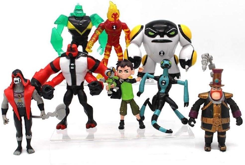 WTB Ben 10 Action Figures – 9-Piece Ben10 Figurine Set – Includes Four Arms, Grey Matter, Kineceleran, Diamondhead, Tennyson – Safe and Durable Free Stickers