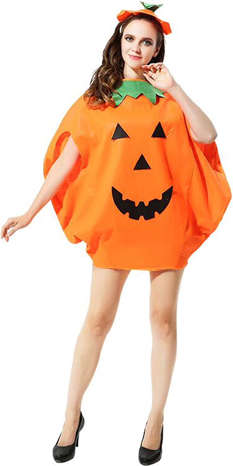 Adult Halloween Pumpkin Costume Funny Cosplay Party Clothes Orange