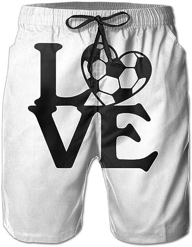 Mens Quick-Dry Swimwear Love Heart Soccer Swim Trunks Board Beach Shorts