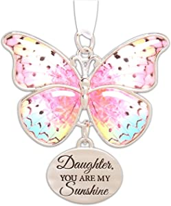 "Ganz 2"" Beautiful Zinc Butterfly Ornament with Sentiment Featuring White Organza Ribbon for Hanging (Daughter)"