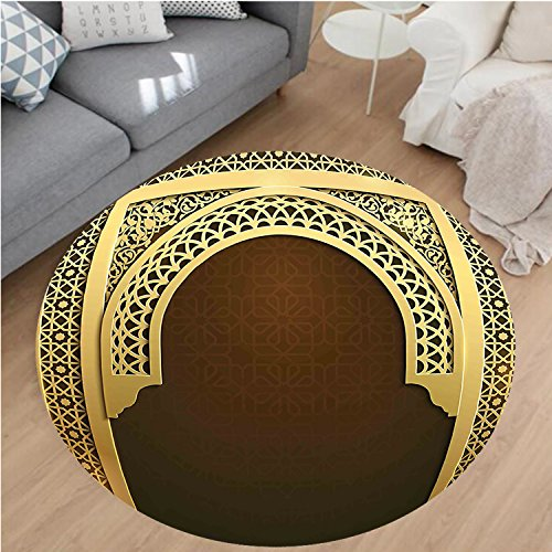 Nalahome Modern Flannel Microfiber Non-Slip Machine Washable Round Area Rug-iddle Eastern Ramadan Greeting Scroll Arch Figure Celebration Holy Eid Theme Golden Brown area rugs Home Decor-Round 79'' by Nalahome