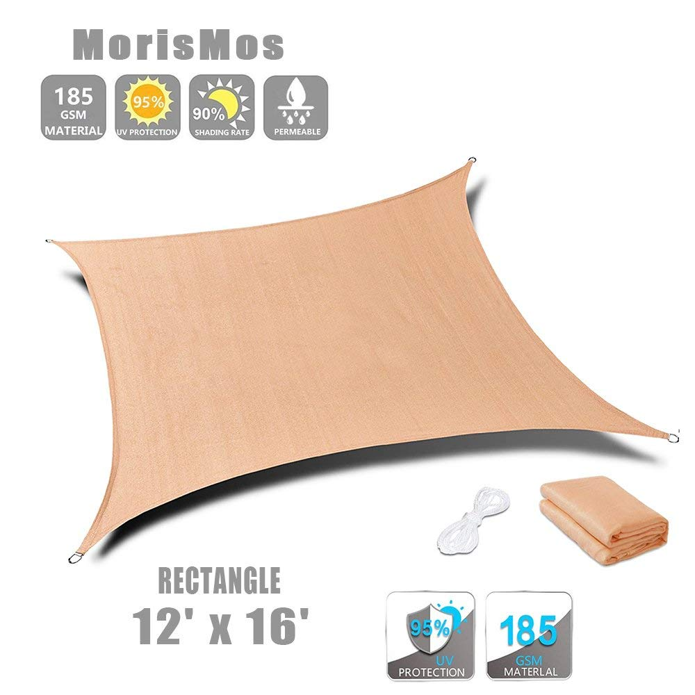 MorisMos Beige Sun Shade Sail Rectangle Canopy Patio Lawn Awning UV Block Fabric Durable Shelter for Garden Beach Backyard (12'x16', Rectangle)