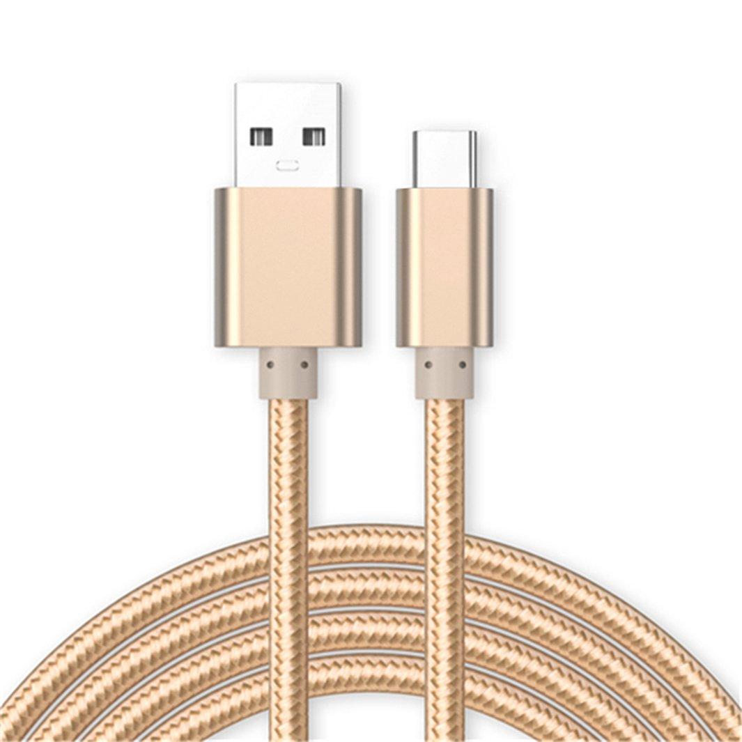 Kit Me Out IT Cavo USB C [3M] [3.1 Amp] per Samsung Galaxy Fold Trasferimento Dati e Ricarica Rapida, Intrecciato Trecciato Antigroviglio Nylon USB Typ C Cavo - Oro