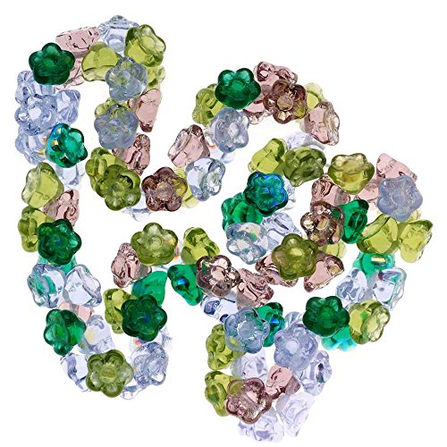 Beadaholique Czech Glass Flower Drops 100-Piece Bead, 7mm, Lavender Garden Color Mix
