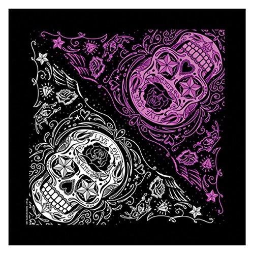 "Hot Leathers Sugar Skull Bandana (Black, 21"" x 21"")"