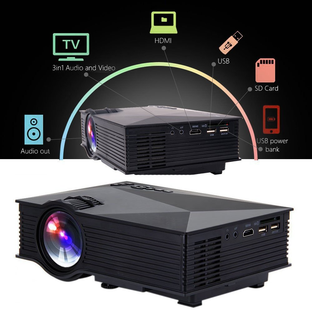 MagiDeal UC46 Multimedia Mini LED Proyector Bluetooth HD 1080p ...