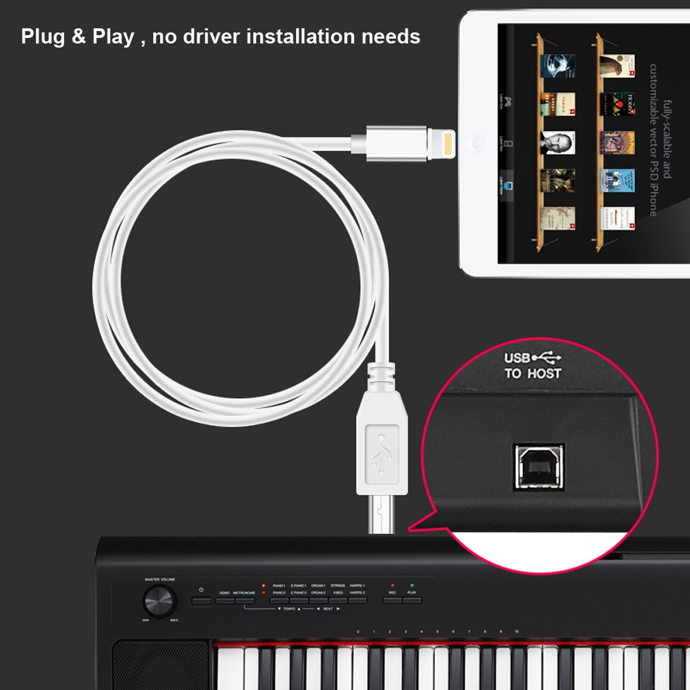 FA-STAR USB 2.0 Type B to Midi Cable, OTG Converter Cable Compatible with iPhone/iPad to Midi Controller, Electronic Music Instrument, Midi Keyboard, Recording Audio Interface, USB Microphone, 3.3Ft by FA-STAR (Image #5)