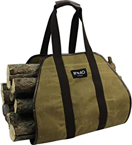 "INNO STAGE Firewood Log Carrier Tote Bag, 40""X19"" Endless Hay Hauling of Fireplace Wood Stove Accessories for Outdoor Camping"