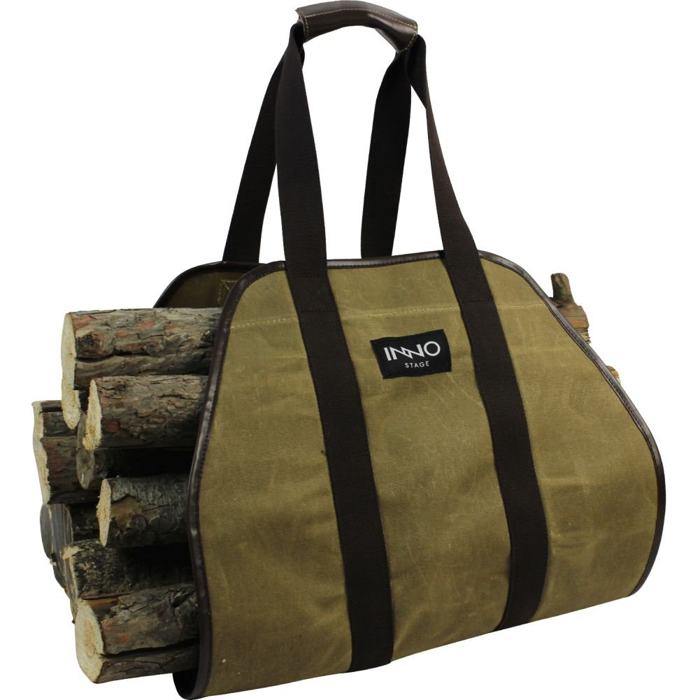 INNO STAGE Waxed Canvas Log Carrier Tote Bag,40''X19'' Firewood Holder,Fireplace Wood Stove Accessories