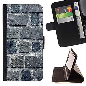 BullDog Case - FOR/Apple Iphone 4 / 4S / - / stone wall gray house building macro /- Monedero de cuero de la PU Llevar cubierta de la caja con el ID Credit Card Slots Flip funda de cuer