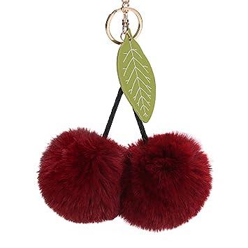 Lonshell - Llavero con forma de cerezas con pompones y hoja, de 8 cm. Ideal para las llaves de casa o el coche, para colgar de la cartera o el bolso