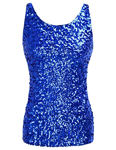 PrettyGuide Women Shimmer Glam Sequin Embellished Sparkle Tank Top Vest Tops ,Blue,Us Size -Small, Asian Size- M