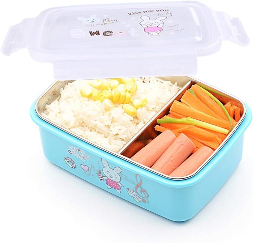bento box,fiambreras para niños,Caja Bento de acero inoxidable - Fiambrera con 2 compartimentos - A prueba de fugas, apta para lavavajillas: Amazon.es: Hogar