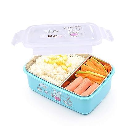 OldPAPA bento Box,fiambreras para niños,Caja Bento de Acero Inoxidable - Fiambrera con 2 Compartimentos - A Prueba de Fugas, Apta para lavavajillas