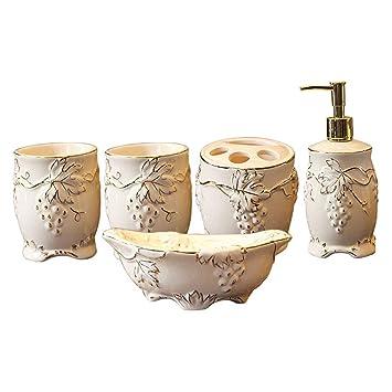 mDesign Decorative Ceramic Bathroom Vanity Countertop Accessory Set Includes