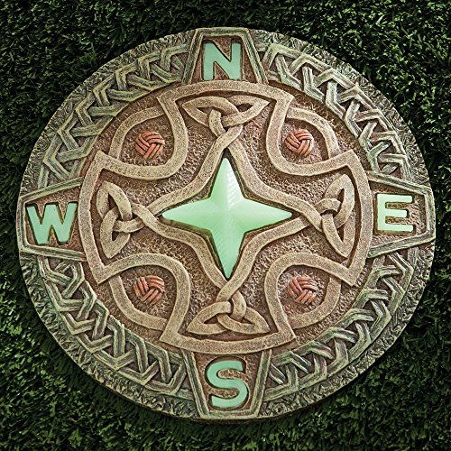 Bits and Pieces - Celtic Compass Glow Garden Stone - Decorative Stone for Your Garden or Lawn - Beautiful Glow-in-the-Dark Stone Makes Great Garden Art - Garden Décor