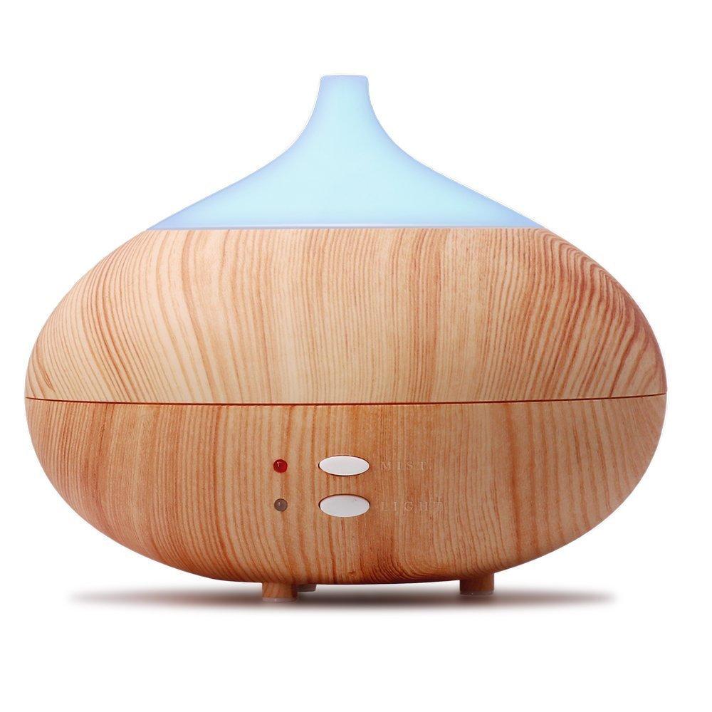 Hysure Difusor Aromaterapia de Aceites Esenciales 300ml Humidificador Ultrasónico Aroma con LED Luz de 7 Colores con Modo Intermitente para Oficina Casa Habitación de Niños Adultos Hotel Yoga, Madera Clara