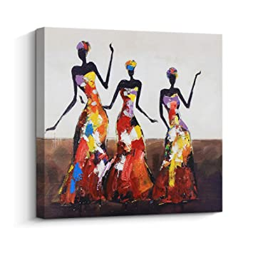 Abstract Series African American Dance Afro Women Black Art Oil Painting For Bedroom Wall Art Hand Painted Artwork Thick Canvas Home Wall Decoration