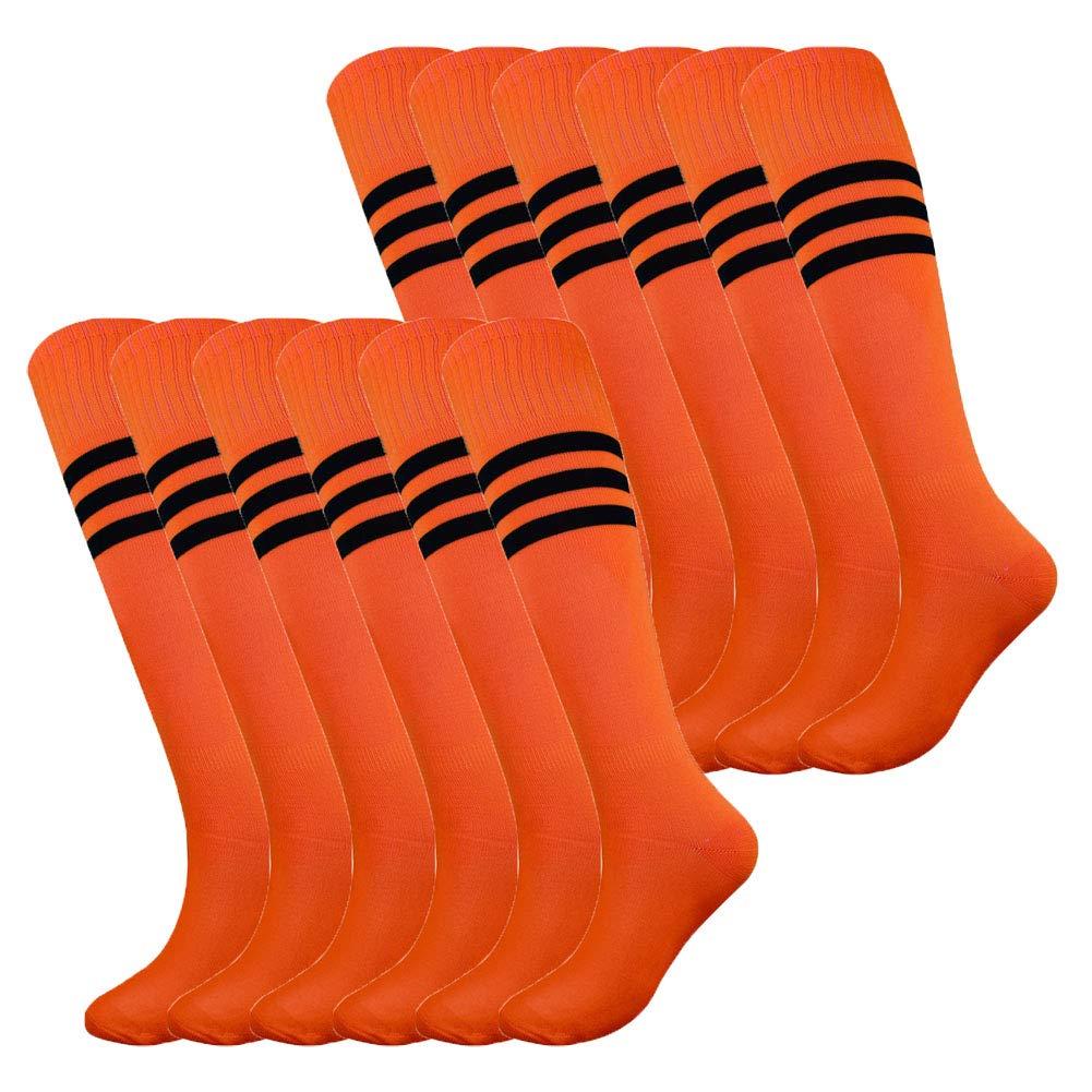 Fitliva Knee High Soccer Softball Baseball Sports Socks with Black Stripe (12pairs-Neon Orange) by Fitliva
