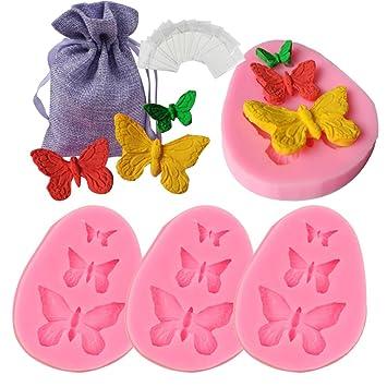JPSOR 4Piezas Mariposa Moldes de Fondant Moldes de Silicona Para Muffin Chocolate Decoración de Tarta: Amazon.es: Hogar