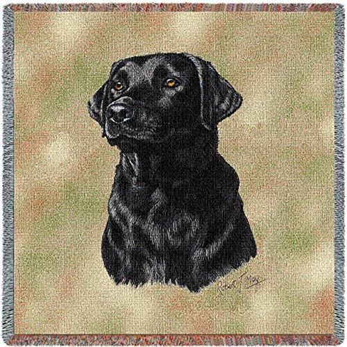 Pure Country 1137-LS Black Lab Pet Blanket, Canine on Beige Background, 54 by 54-Inch