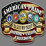 Built USA Hero American Pride Series in God We Trust Decal Sticker | Waterproof Permanent Car Motorcycle Bicycle Skateboard Laptop Luggage Vinyl Graffiti Decals Bumper Stickers | Size: 12'' | 3 Pack