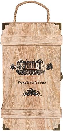 XINGZHE Estante para vinos - Caja de Madera para Vino Caja de Vino Retro Caja de Regalo Personalizada Caja de Madera (tamaño 19.5CMX35CMX10CM) Estante de Copa: Amazon.es: Hogar