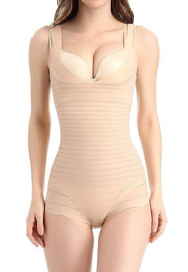 Aivtalk Gaine Combinaison Femme Body Minceur Efficace Lingerie Sculptante  Amincissant Respirant Galbante Shapewear Corset Beige - 352ef897111