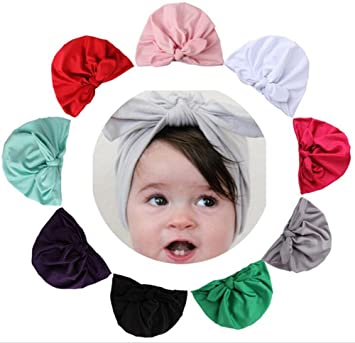 Amazon.com  9 Pack Baby Girl Hats Knotted With Soft Cute Turban ... e074ace7cd1