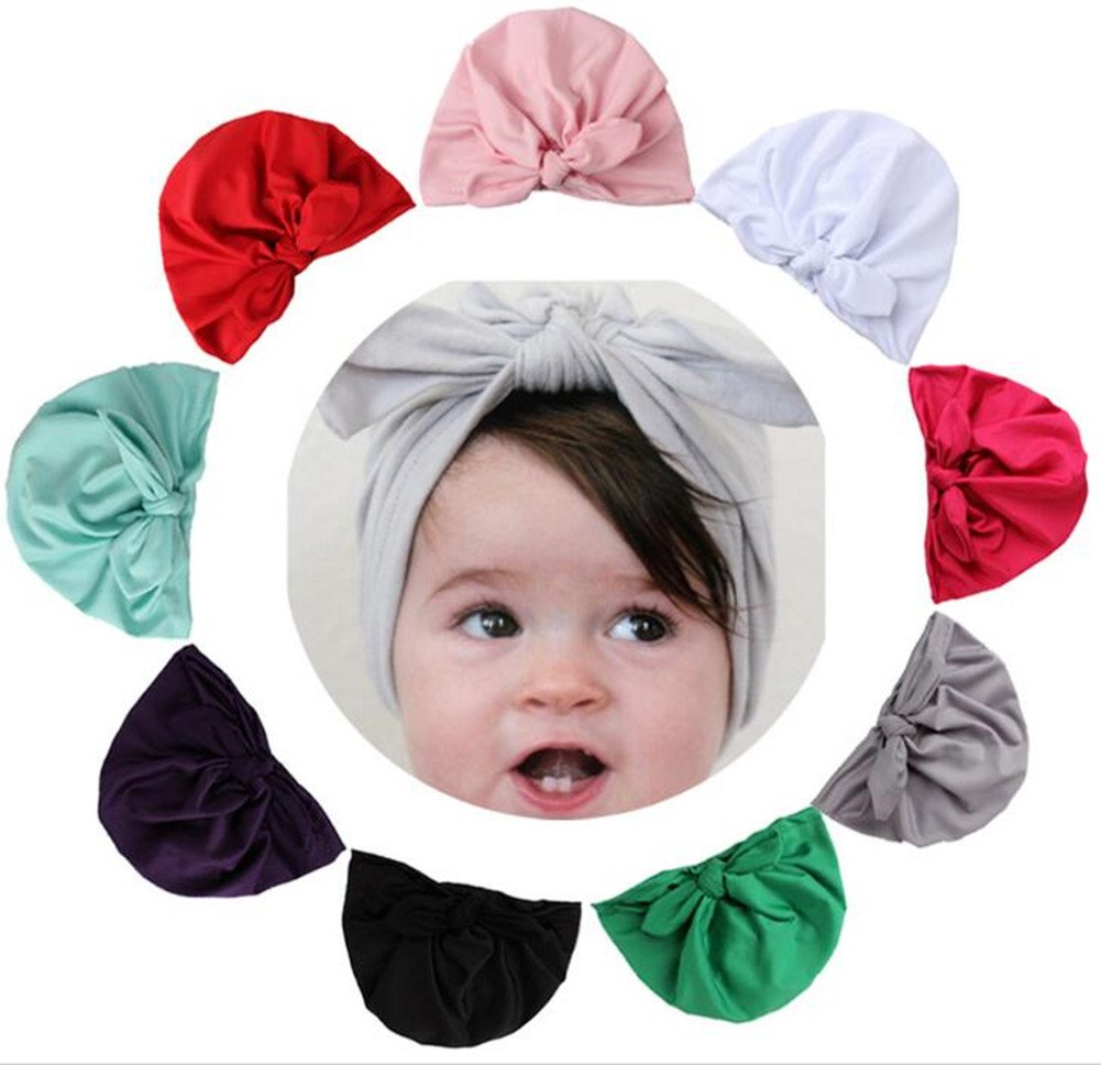 9 Pack  Baby Girl Hats Knotted With Soft Cute Turban Headband Cap for Newborn Infant Kids Girl's by Guozyun