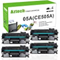 Aztech 4 Packs 05A CE505A Compatible 05A Toner Cartridge Replaces for HP 2035 HP 05A CE505A HP LaserJet P2055DN P2035N P2055D P2055X LaserJet P2055 P2035 P2030 P205 2035 2055 Toner Ink Black