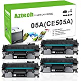 Aztech 4 Packs 05A CE505A Compatible 05A Toner Cartridge Replaces for HP 2035 HP 05A CE505A HP Laserjet P2055DN P2035N P2055D P2055X Laserjet P2055 P2035 P2030 P2050 2035 2055 Toner Ink Black