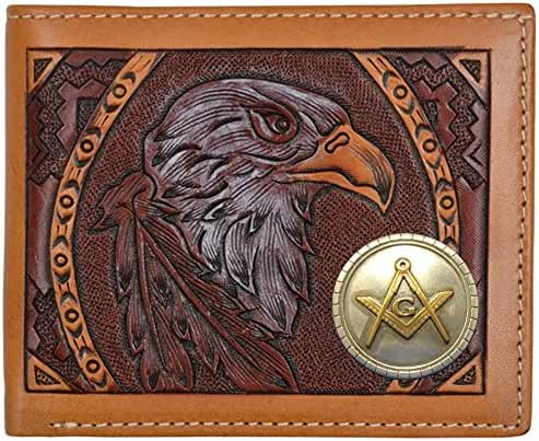 Custom American Spirit Masonic Square and Compasses hand-tooled Bi-Fold leather wallet
