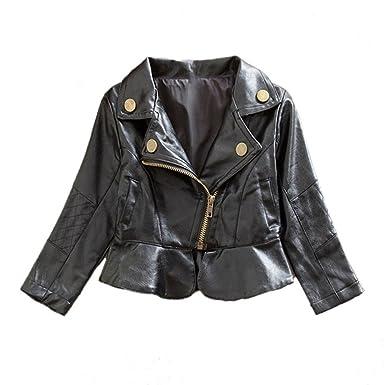 Spring Autumn Baby Girls Motorcycle Jackets PU Leather Coat Bike Blazer