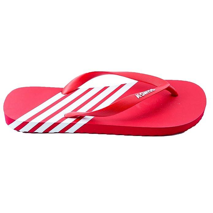 f2b713064 Mens K-Swiss Iconic K-Flop Summer Shoe Striped Beach Shoe Toe Post Flip  Flops