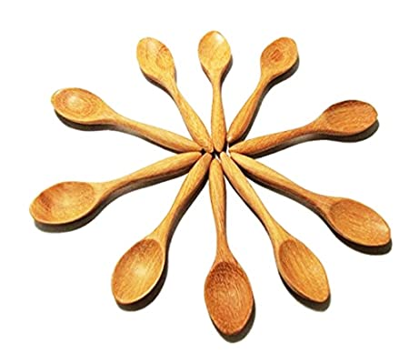 Pequeñas cucharas de madera color blanco Kitchenwear Juego de madera regazo condimento cuchara juego de sal y azúcar cuchara 10 pcs.: Amazon.es: Hogar