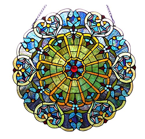 (Chloe Lighting Willa Stained Glass Victorian Window Panel)