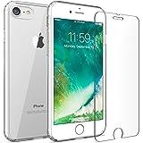 iPhone 7 8 case, FlexGear 360 Slim Clear Hard PC Back TPU bumper + Glass Screen Protector (Clear)