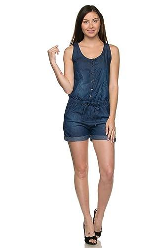 f1b44cefcd4b Amazon.com  2LUV Women s Denim Drawstring Romper  Clothing
