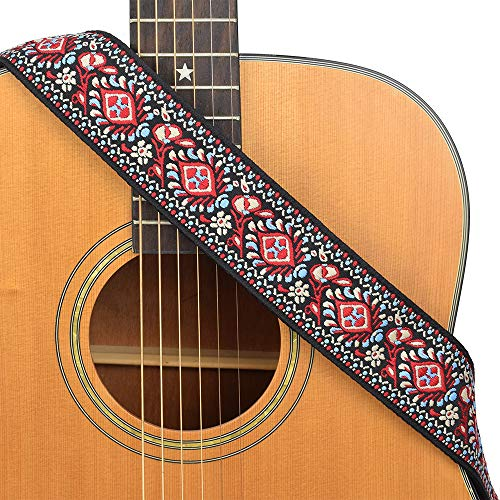 CLOUDMUSIC Guitar Strap Floral Patterns Jacquard Woven With Leather Ends For Acoustic Electric Bass Ukulele Guitarlele Guitar Picks Free (Vintage Red Woven)