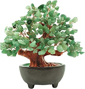 Colorsheng 7 Inch Quartz Crystal Money Tree Bonsai Fengshui Gem Decoration for Wealth and Luck (Green)
