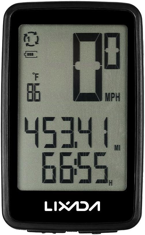 Lixada Wireless Bike Computer USB Rechargeable Wireless Bicycle Cycling Computer Bicycle Speedometer Odometer&Bike Computer Mount Holder(Optional)