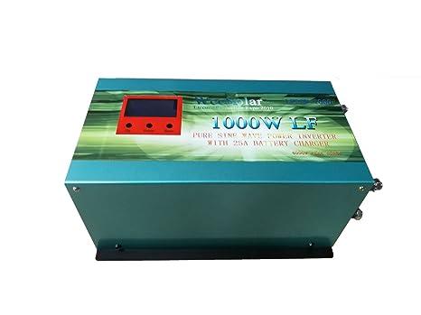 wccsolar Inversor 1000W con Cargador 25A 12V to AC 230V Pure ...