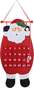MEZOOM Christmas Advent Hanging Calendar Xmas Felt Santa Claus Countdown Calendar with 24 Pockets for Kids Gifts Wall Door Hanging Decoration Christmas Home Office Decor