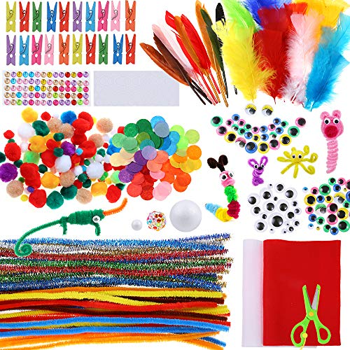 (Caydo Assorted Pipe Cleaner Craft Kit Chenille Stems Pom Poms Wiggle Googly Eyes Feather and Felt, Foam Balls for Kids DIY Art Supplies Set)