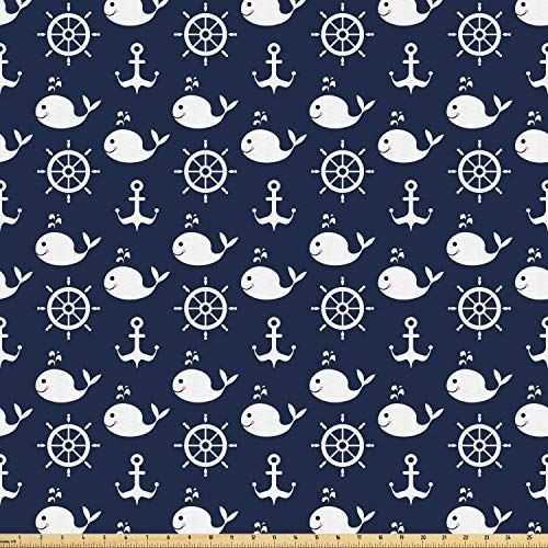 Ambesonne Navy Blue Fabric by The Yard, Maritime Pattern with Whales Helms Anchors Nautical Elements Deep Sea Life, Microfiber Fabric for Arts and Crafts Textiles & Decor, 2 Yards, Navy Blue White from Ambesonne