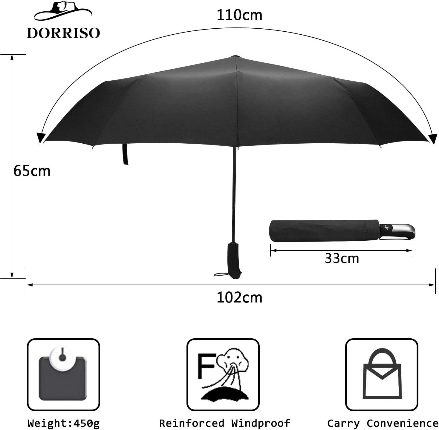 DORRISO Automatique Pliant Parapluie R/ésistant Vent Compact Portable l/éger Voyage /étanche Homme Femme Poign/ée Antid/érapante Parapluie de Voyage