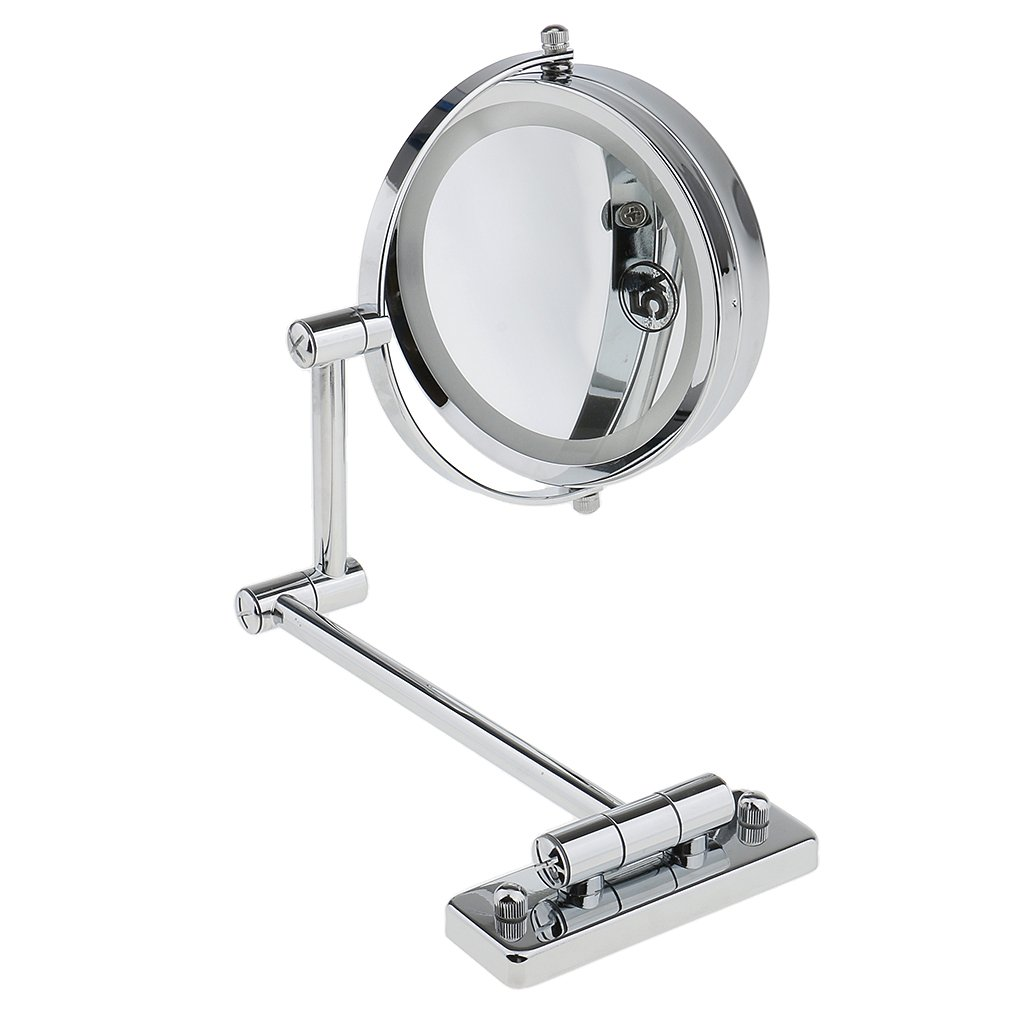 Homyl LED Light Double Sided Wall Mount Mirror 5x Magnifying for Makeup Bath Shave