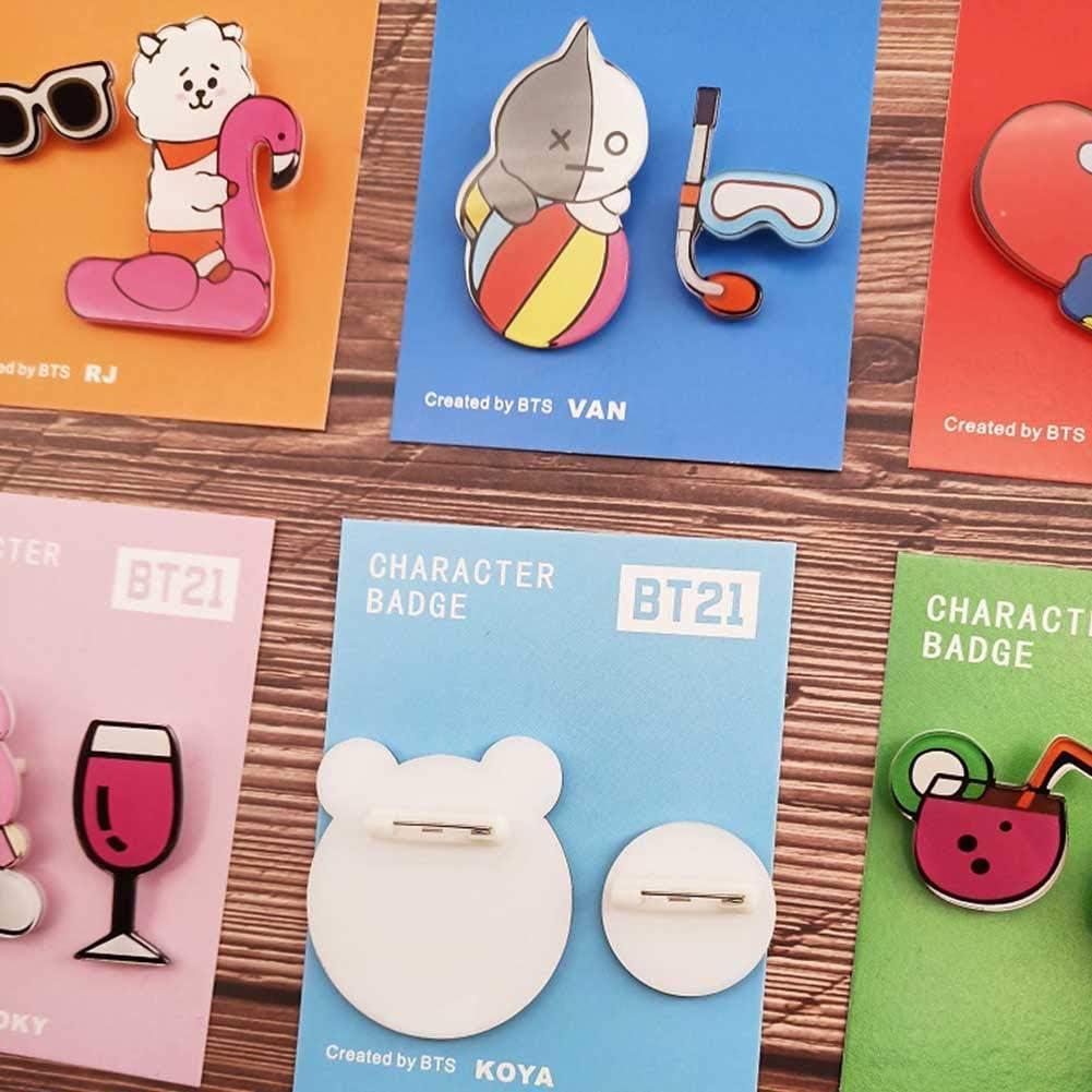 GOTH Perhk KPOP BTS Brooch Set Cute Enamel Badge Brooch Pins for Backpack Hat Clothing 2pcs or 8pcs