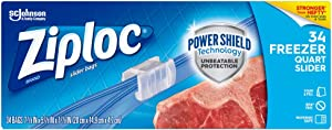 Ziploc Slider Freezer Bags with New Power Shield Technology, Quart, 34 Count